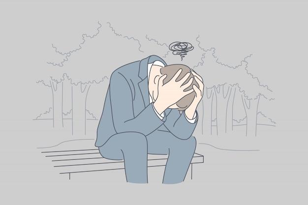 Desespero, frustração, depressão, estresse mental, conceito do negócio.