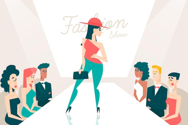 Desfile de desfile de moda plana