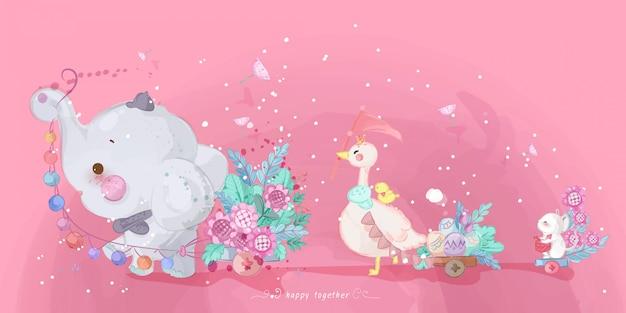 Desfile de mão desenhada doodle animais.