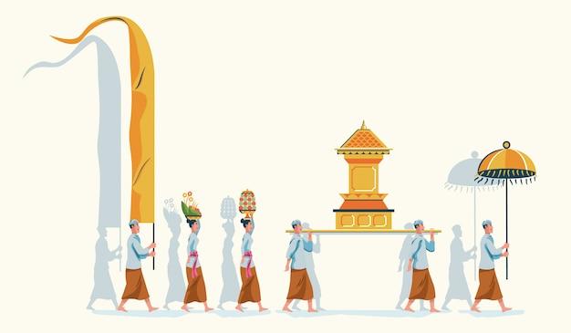 Desfile de purificação hindu de bali