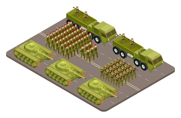 Desfile militar isométrico com soldados e equipamento militar