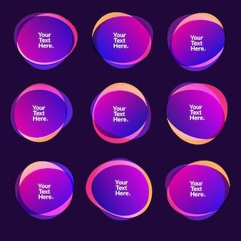 Desfoque abstrato, formas, gradiente de cores, cores iridescentes, efeito de transição suave, ilustração eps10