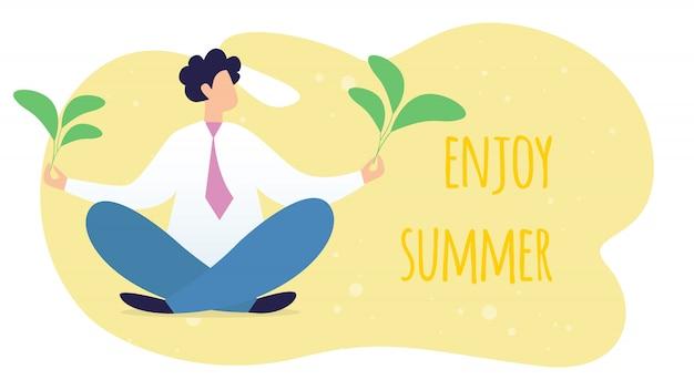 Desfrute de banner horizontal de verão com gerente pacífica ou empresário sentado na postura de lótus yoga