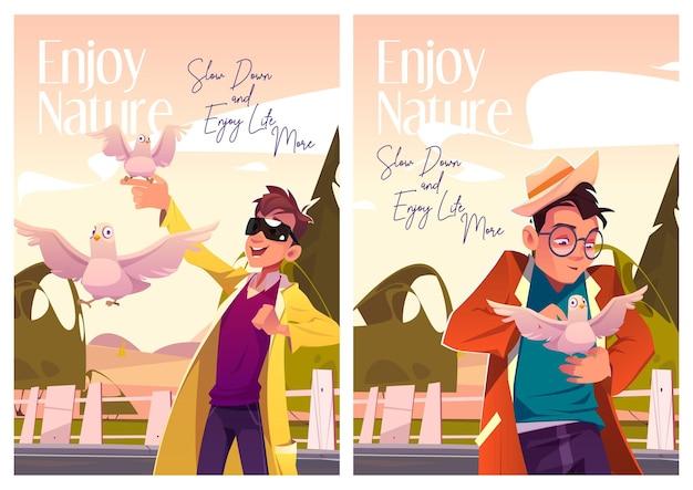 Desfrute de cartazes de desenhos animados da natureza bons homens com pombas