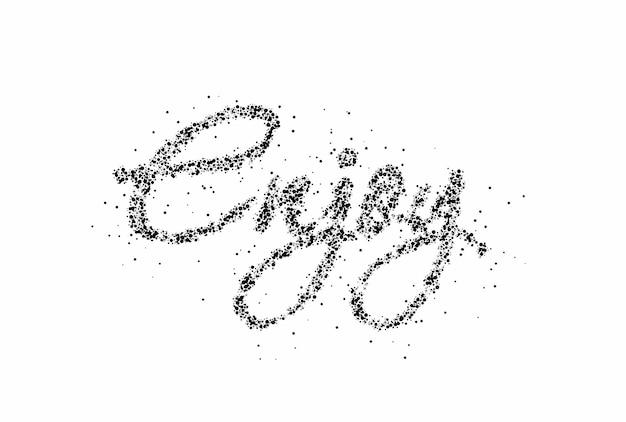 Desfrute de design de ilustração vetorial de texto de estilo de partícula caligráfica.