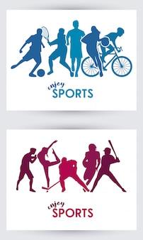 Desfrute de esportes, silhuetas de atletas