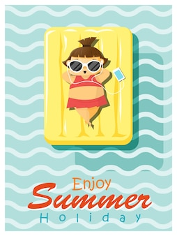 Desfrute de férias de verão tropical com garotinha