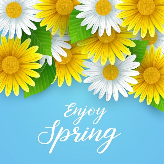 Desfrute de fundo primavera com lindas flores