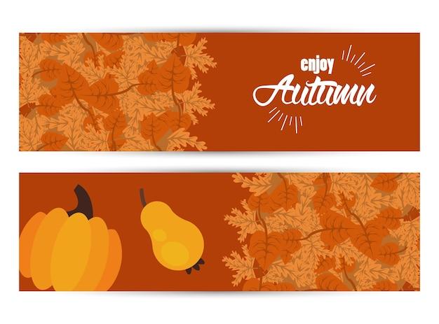 Desfrute de letras de outono com folhas e banners de frutas secas.