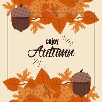 Desfrute de letras de outono com moldura quadrada de folhas e nozes.