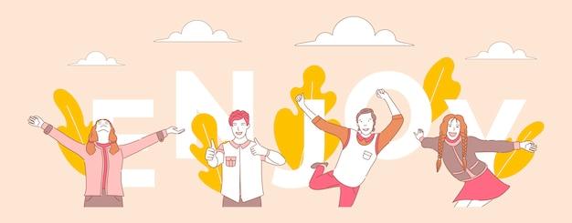 Desfrute de modelo de banner do conceito de palavra. pessoas dançando, mostrando os polegares, em pé com os braços abertos.