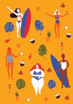 Desfrute de mulheres na praia com pranchas de surf. mulheres de etnia diferente em trajes de banho comemoram a diversidade. cartão do dia internacional da mulher ou panfleto.
