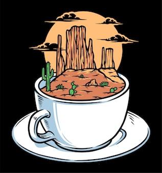 Desfrute de um café na ilustração do deserto