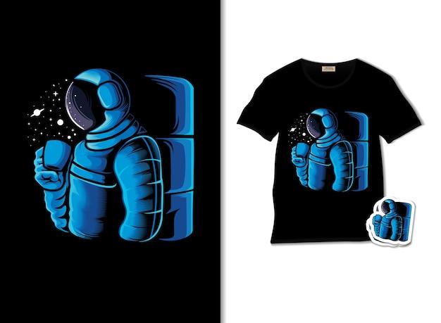 Desfrute de um café na ilustração do espaço com design de camiseta
