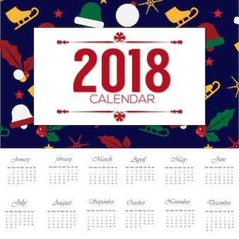 Desgin de calendário 2018 com padrão de chrismas