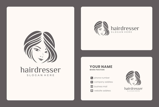 Desgn de logotipo de beleza de cabelo minimalista. o logotipo pode ser usado para salão de beleza, loja de cuidados com a pele.