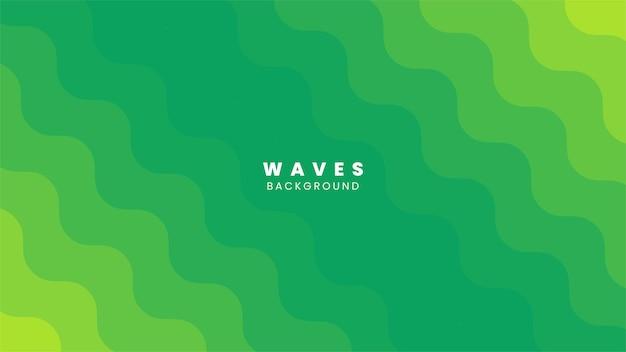 Desig de fundo colorido de ondas verdes e amarelas