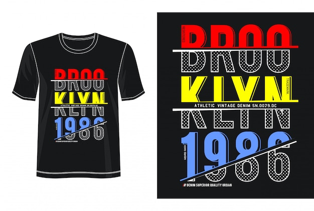 Design 1986 da tipografia de brooklyn camiseta