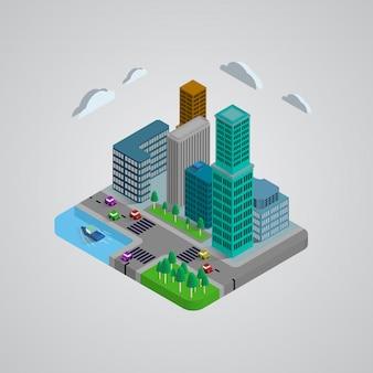Design 3d de edifícios modernos isométricos