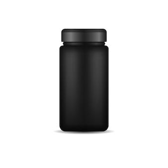 Design 3d de embalagem de plástico preto brilhante