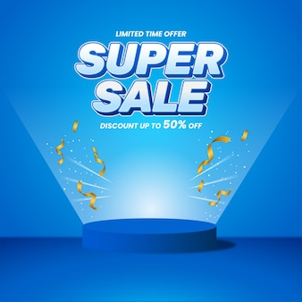Design 3d de promoção de banner de super venda