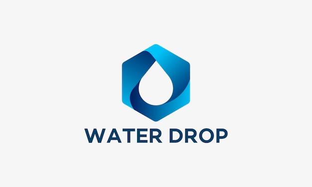 Design 3d modelo de logotipo de gota de água, ilustração