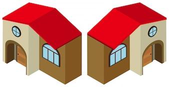 Design 3D para construção com porta redonda