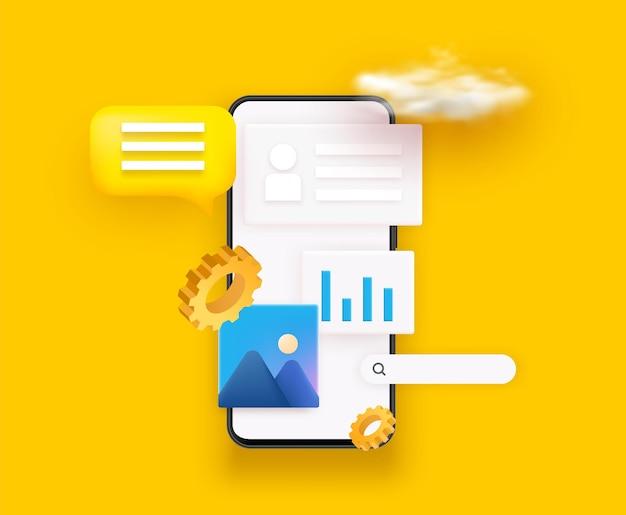 Design 3d ui e ux. design de aplicativo útil e interface de aplicativo móvel.