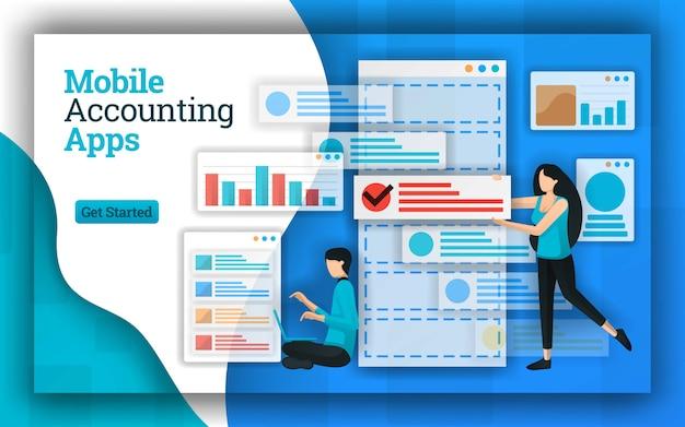 Design abstrato de aplicativos de contabilidade para dispositivos móveis