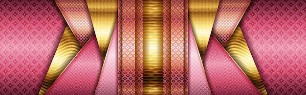 Design abstrato de ouro metálico e tecnologia moderna de geometria de moldura rosa