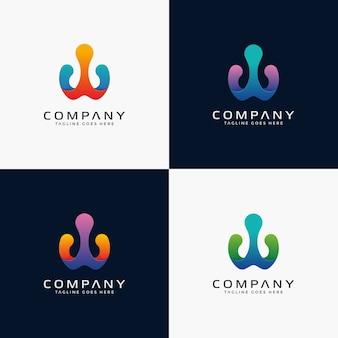 Design abstrato moderno do logotipo da letra w