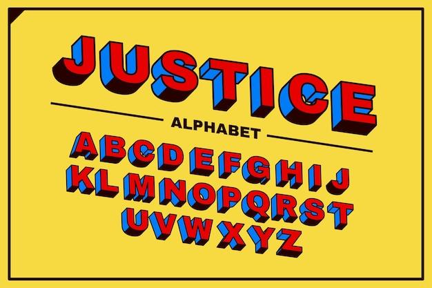 Design alfabético em quadrinhos 3d