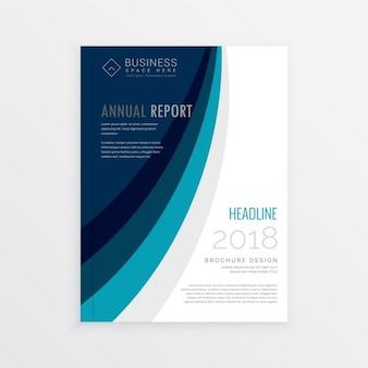 Design annual modelo de brochura tampa do relatório com linhas onda azul