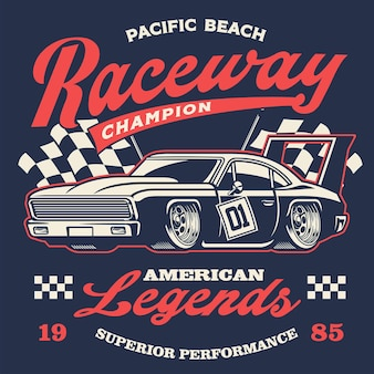 Design antigo de camisa de carro de corrida vintage