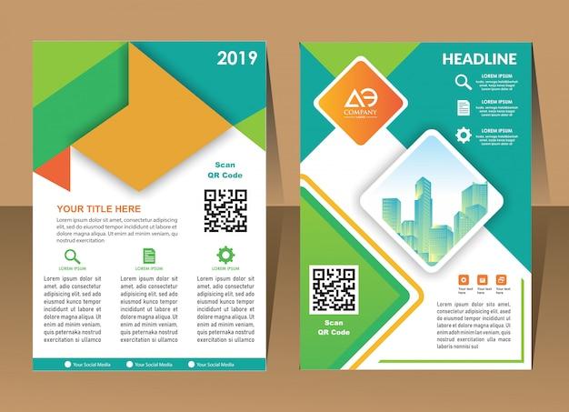 Design anual relatório capa vetor modelo folhetos folhetos