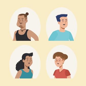 Design atraente de usuário de homens e mulheres