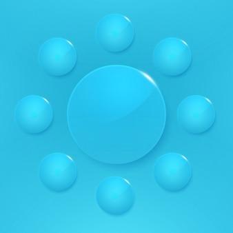 Design azul botões