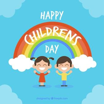 Design azul do dia das crianças com arco-íris