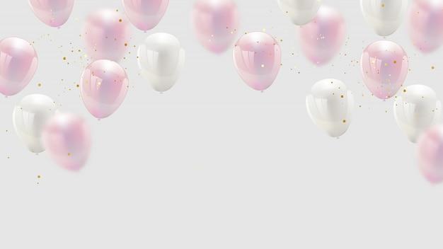 Design balão cor rosa confete e fitas de ouro