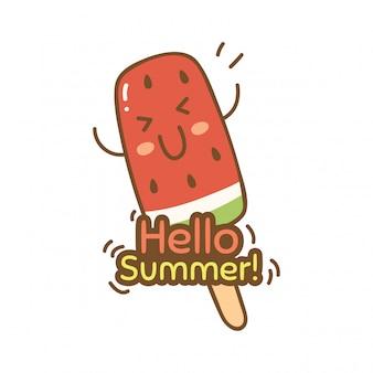 Design bonito com sorvete de melancia
