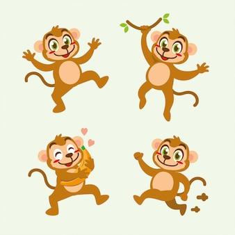 Design bonito de personagem de desenho animado de macaco
