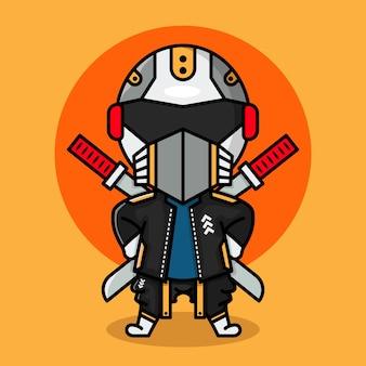 Design bonito de personagens cyberpunk ninja chibi