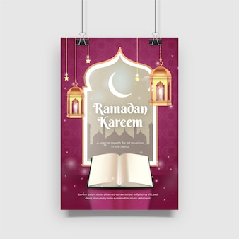 Design bonito do cartaz de ramadan kareem