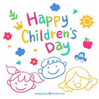 Design bonito do dia das crianças desenhado a mão