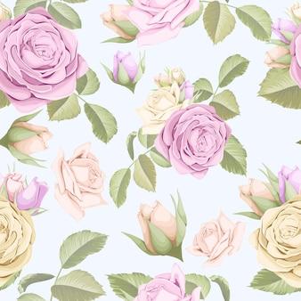 Design bonito padrão sem emenda com folhas e broto de rosas