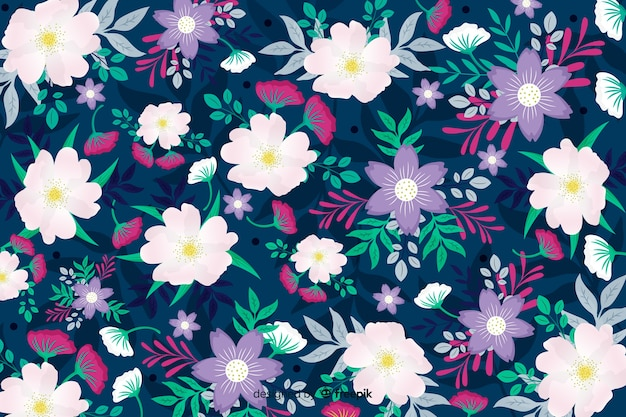 Design bonito para fundo de flores brancas e roxas