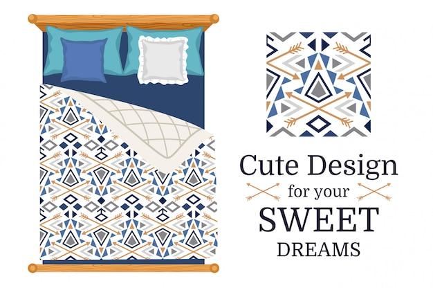Design bonito para roupa de cama, padrão sem emenda