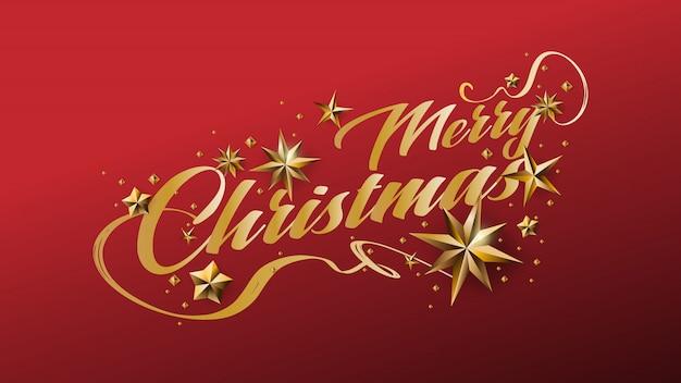 Design caligráfico de feliz natal e decorado com estrelas douradas