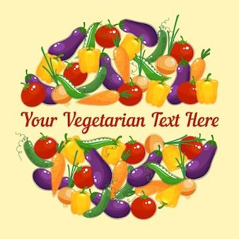 Design circular para cartão vegetariano com vegetais frescos coloridos e vívidos