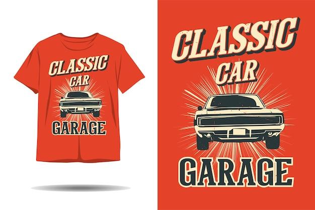 Design clássico de camiseta com silhueta de garagem para carros